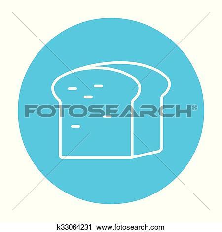 Clipart of Half of bread line icon. k33064231.