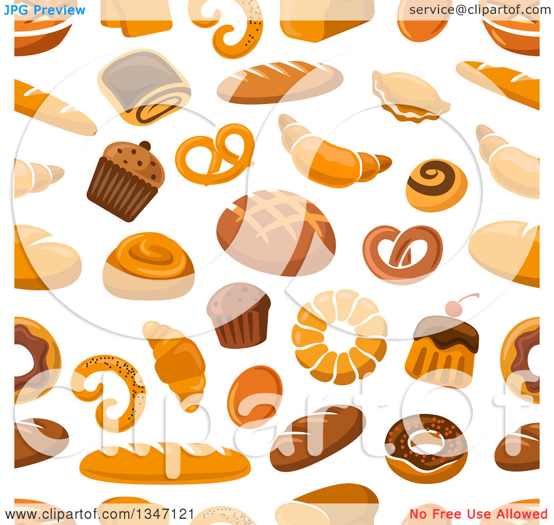 Clipart of a Seamless Background Pattern of Bread and Baked Goods.