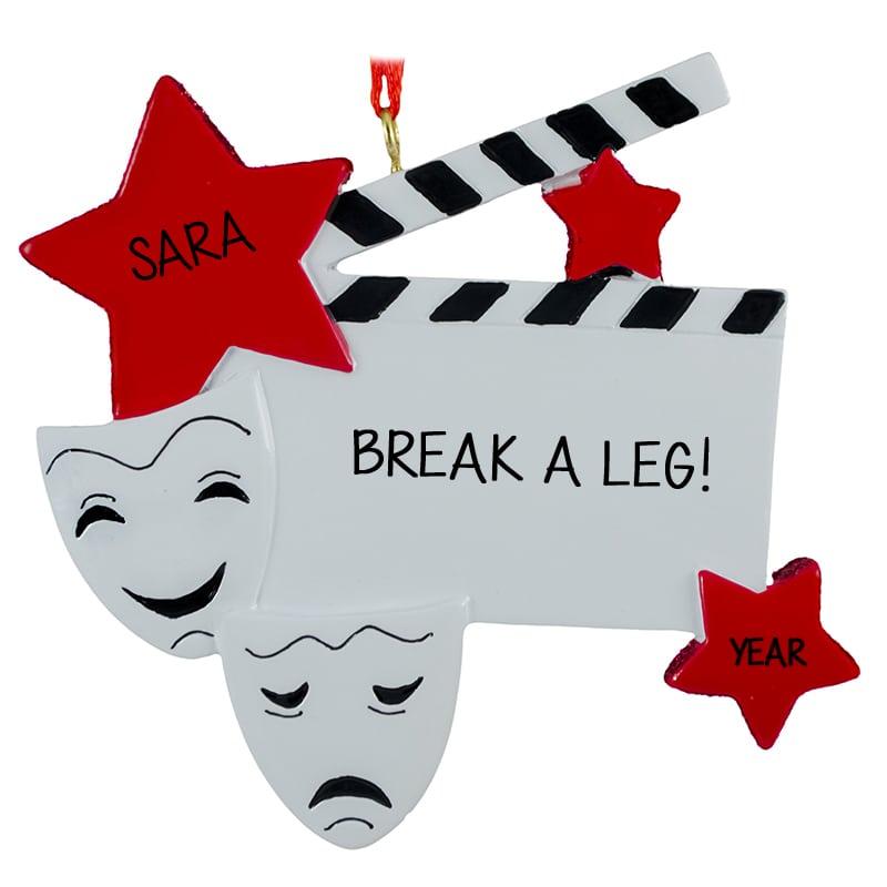 Break A Leg Actors and Musicians Comedy & Tragedy Masks Ornament.