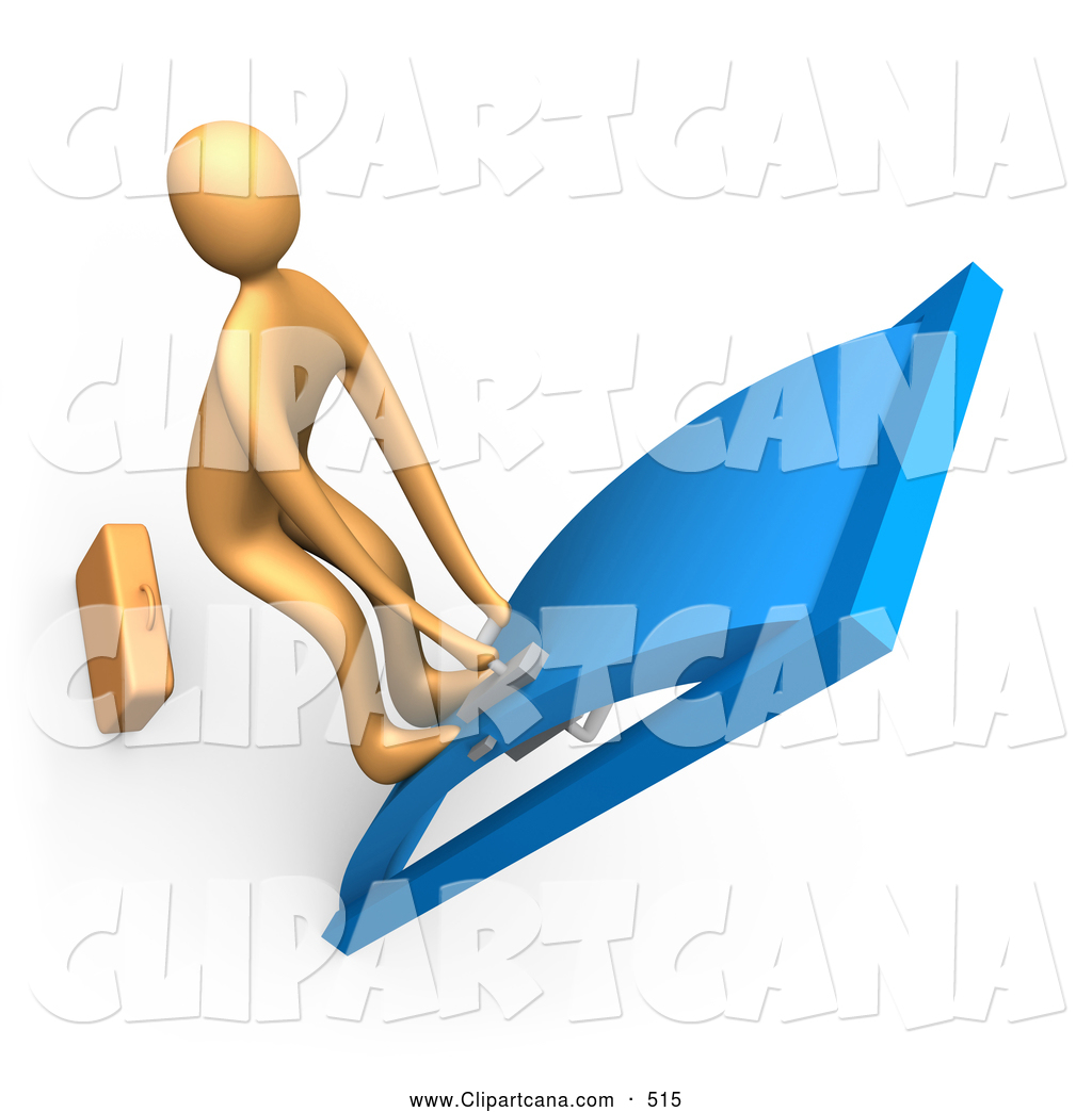 Clip Art of a Orange Person with His Feet up on the Door, Yanking.