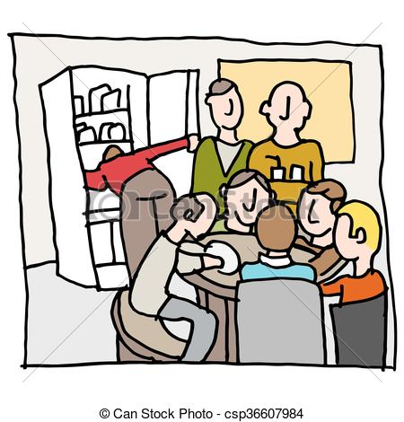 employees in a crowded break room.