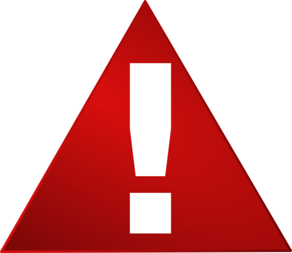 Exclamation point red warning triangle white exclamation mark clip.