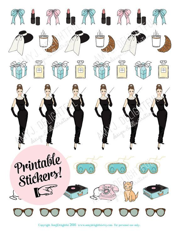 Printable BREAKFAST at TIFFANY'S stickers!.