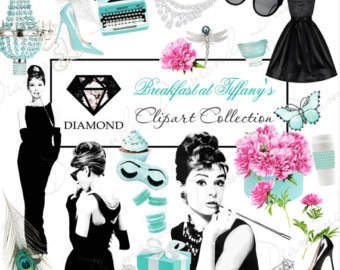Audrey Hepburn Clipart Breakfast at Tiffany's Clipart Fashion Clipart Cat  French Parfume Vintage Phone Fashion Illustration Planner Stickers.