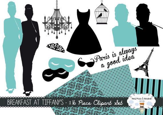 Breakfast at Tiffany's CLIP ART SET for personal by amyjdelightful.