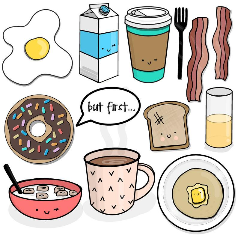 Breakfast of champions clipart. 13 PNG files. Transparent background. 300  dpi. Instant download..