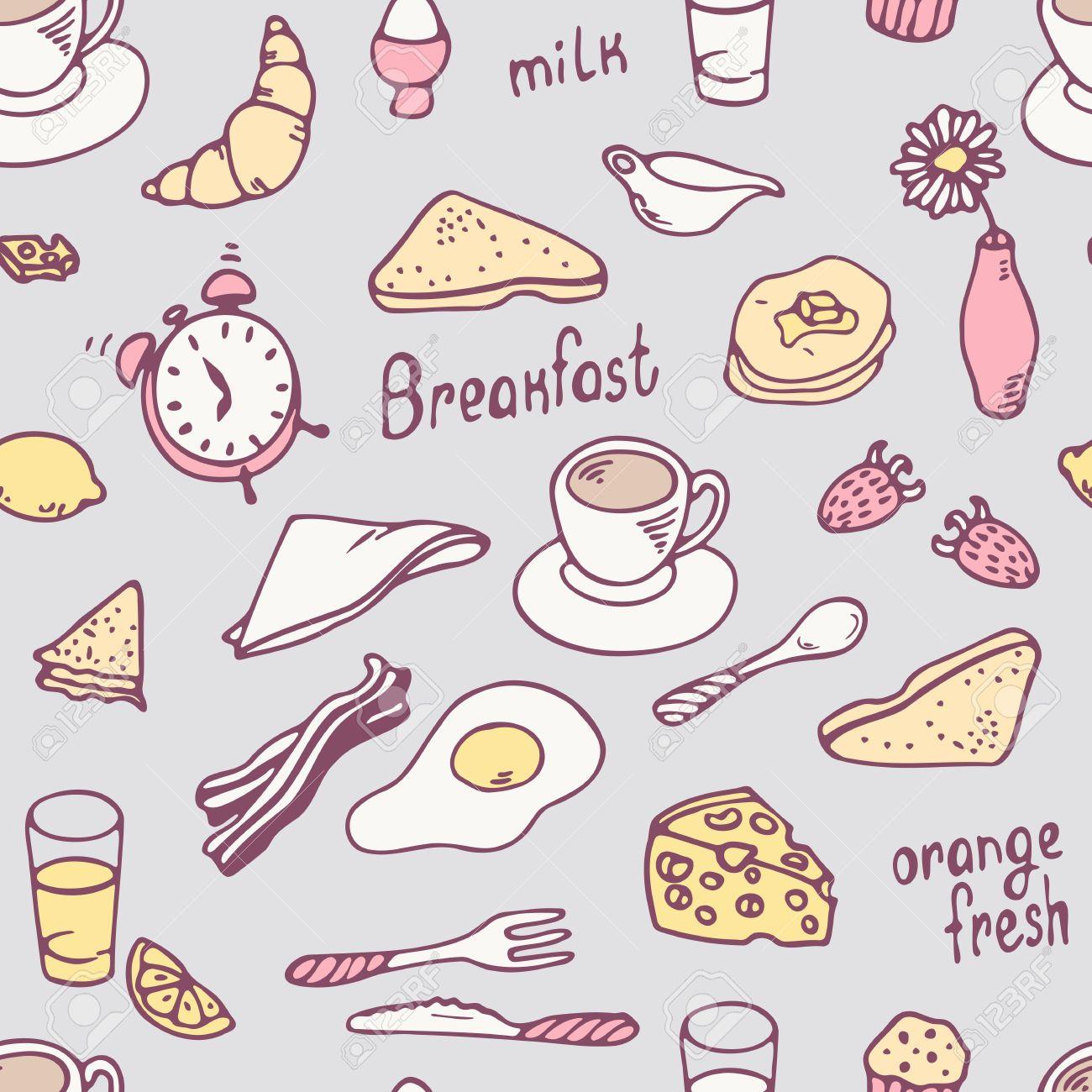 Cute hand drawn breakfast seamless pattern. Food vector background...
