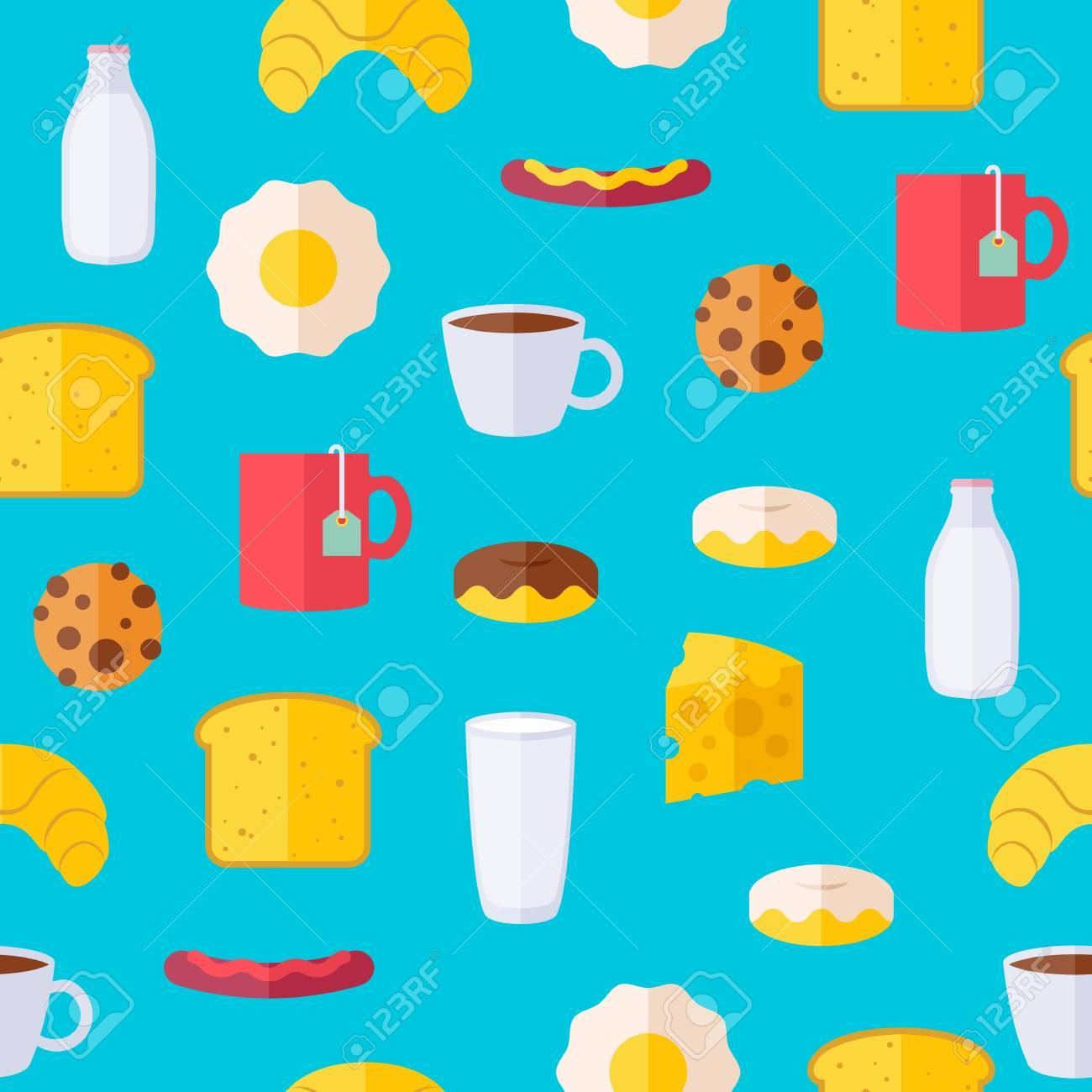 Breakfast icons seamless colorful pattern. Morning food background...