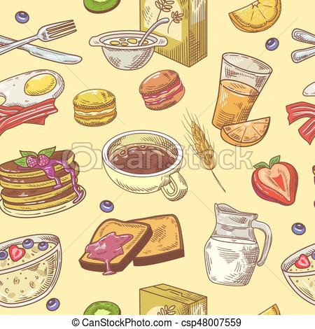 Hand Drawn Breakfast Seamless Pattern with Coffee, Fruits and Toasts.  Healthy Food Background. Vector illustration.