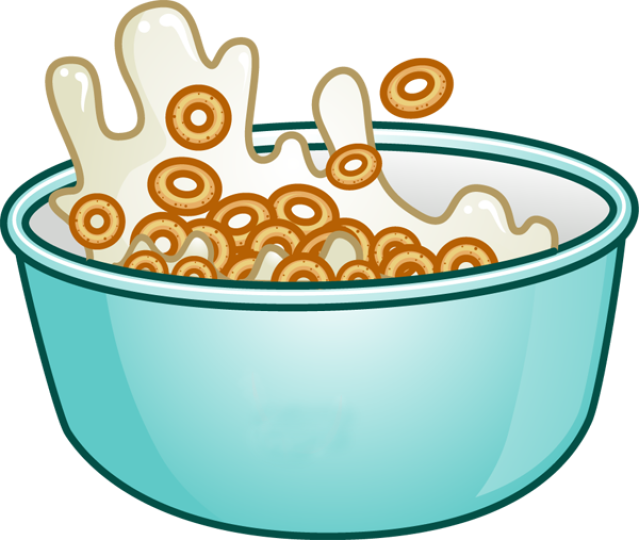 Breakfast Cereal And Milk Clipart.