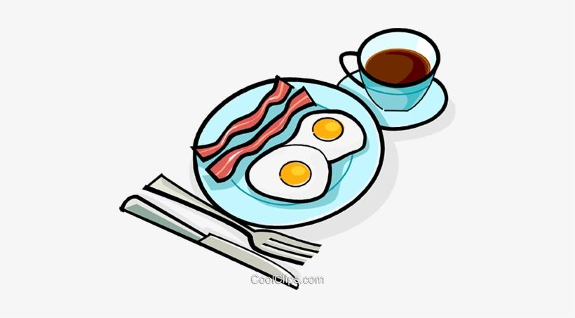 Bacon And Eggs Breakfast Royalty Free Vector Clip Art.