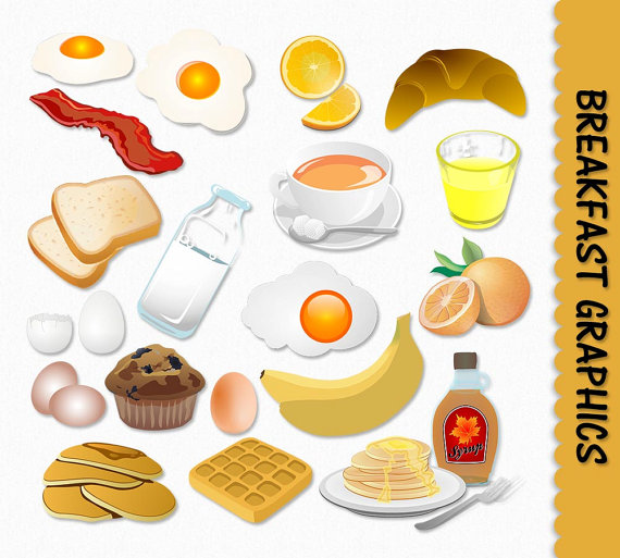 Breakfast Food Clip Art Graphics Clipart Scrapbook Muffin Egg Toast.
