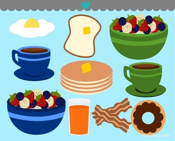 Breakfast food clipart commercial use.