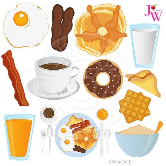 Breakfast Food Digital Clipart, Breakfast Clip art, Donut, Coffee,  Pancakes, Fried Egg, Bacon, Oatmeal, Toast, Breakfast Graphics, Sausage.