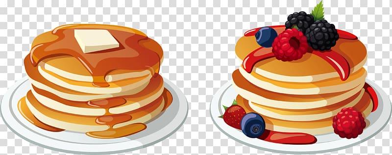 Pancake with raspberries and blackberries illustration, Pancake.