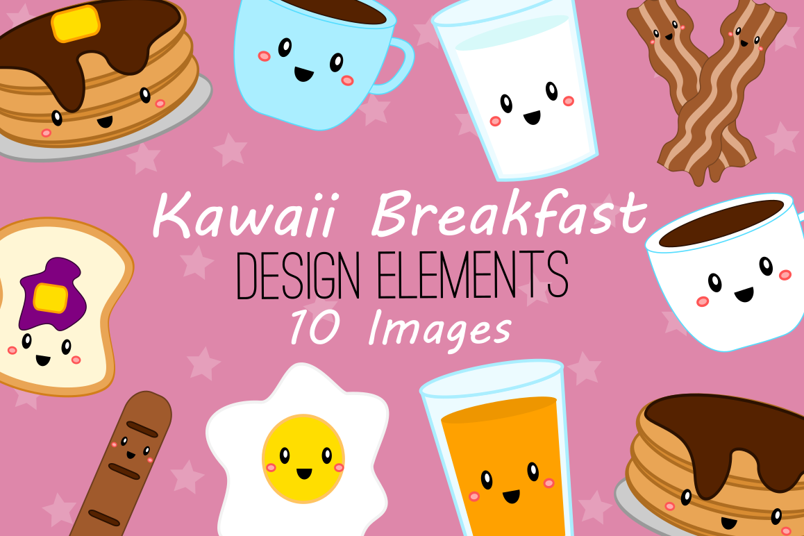 Kawaii Breakfast Graphics, Illustrations, Clipart.