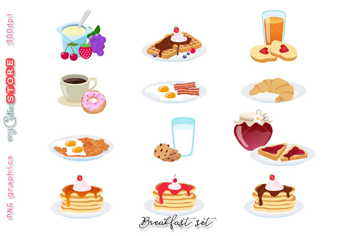 Breakfast collection clipart, yoghurt, bacon with eggs, pancakes, coffee  and donuts, mourning routine png graphics planning..