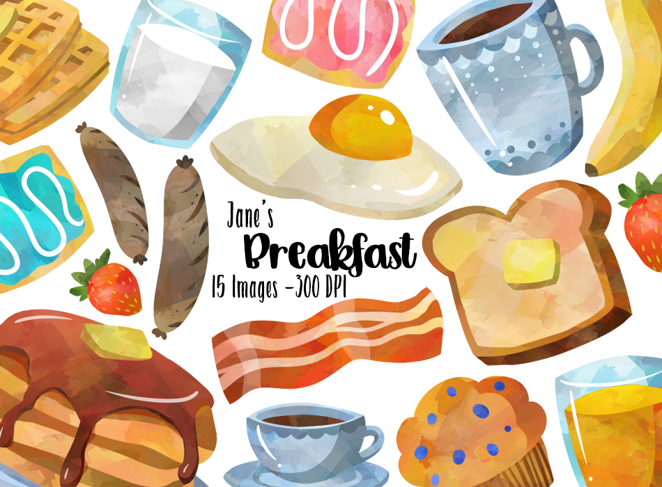 Breakfast Graphics Set in 2019.