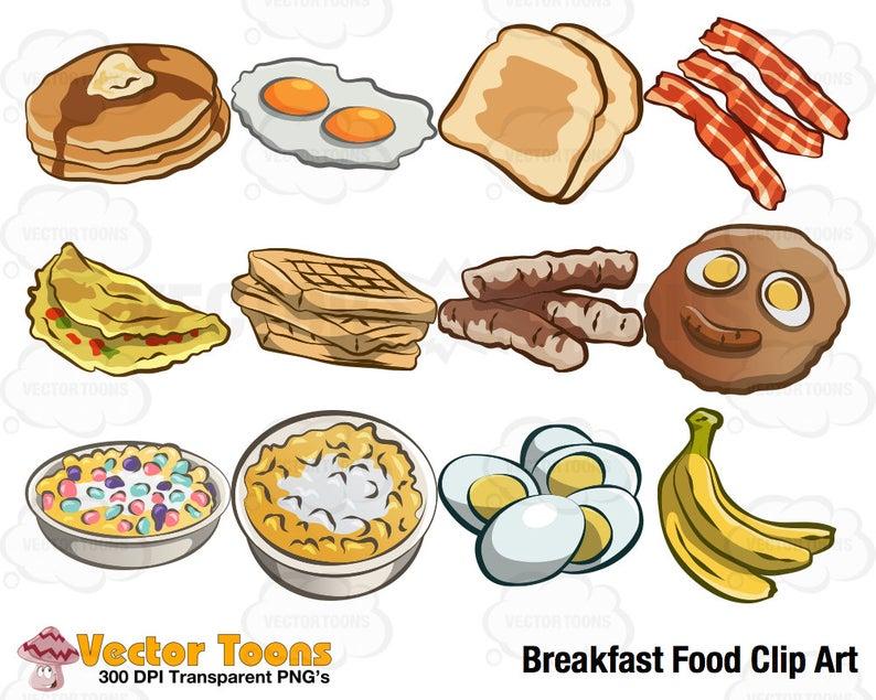 Breakfast Food Clip Art, Digital Clipart, Digital Graphics.