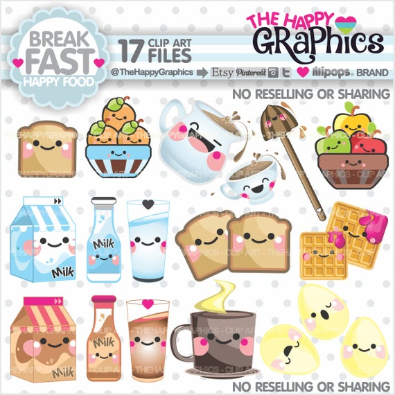 Breakfast Clipart, Breakfast Graphics, COMMERCIAL USE, Food Graphics.