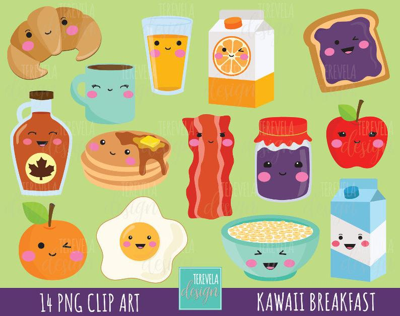 50% SALE Breakfast clipart, food clipart, breakfast graphics, commercial  use, kawaii clipart, meals graphics, fruits/bread/eggs, cute images.