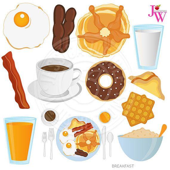 Breakfast Food Digital Clipart, Breakfast Clip art, Donut, Coffee.