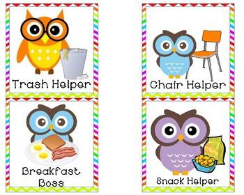 Owl themed classroom jobs.