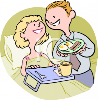 Man Serving His Wife Breakfast in Bed Clip Art.