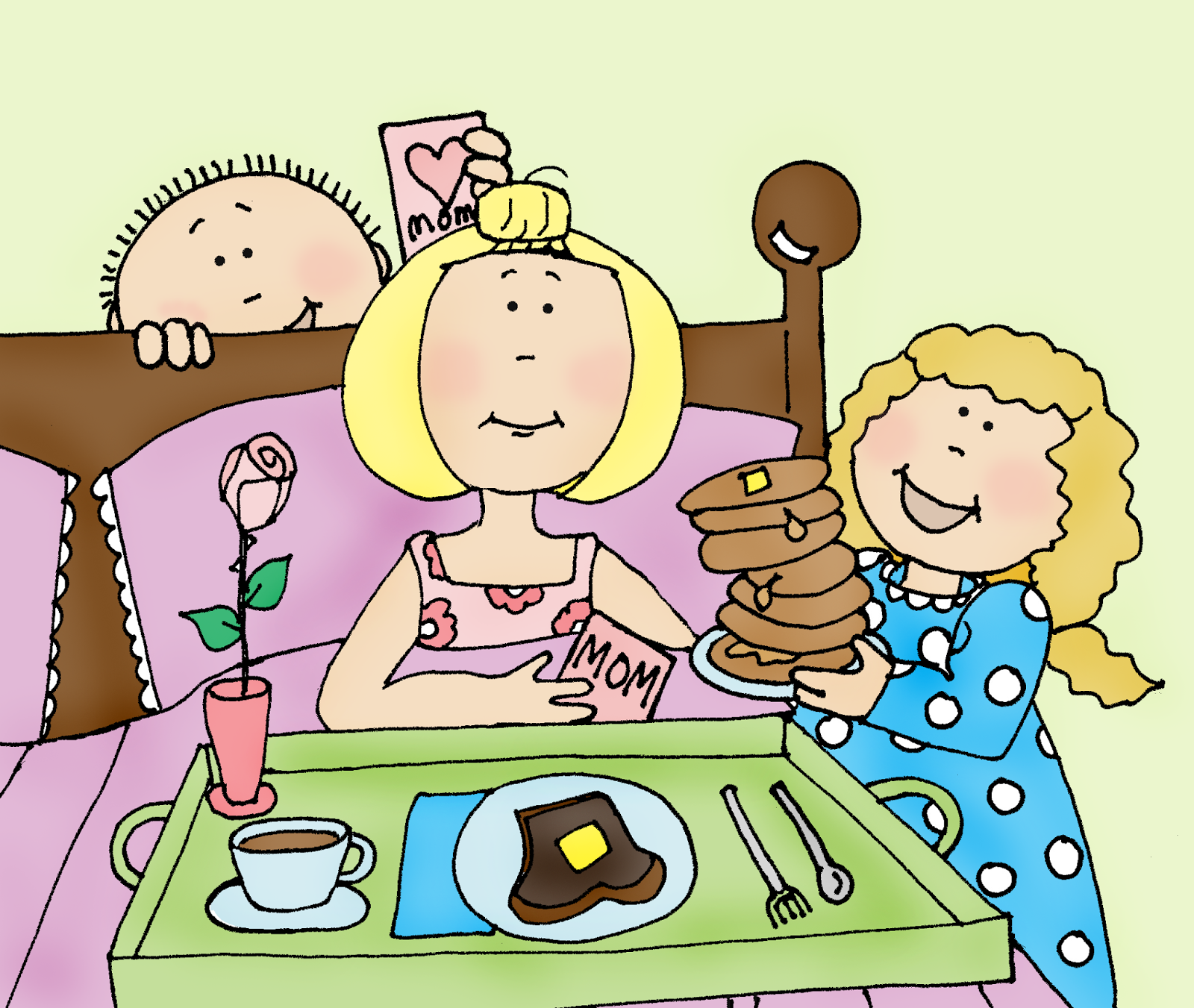 Free Dearie Dolls Digi Stamps: Mother's Day Breakfast in Bed.