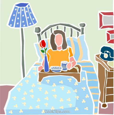 Breakfast in bed Royalty Free Vector Clip Art illustration.