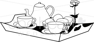 Black and White Breakfast in Bed Clipart.
