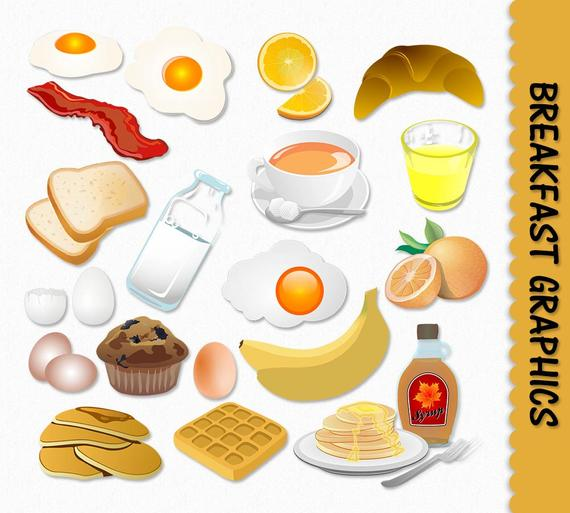 Breakfast Food Clip Art Graphics Clipart Scrapbook Muffin Egg Toast Milk  Pancakes Maple Syrup Digital Download PNG Vector Commercial Use.
