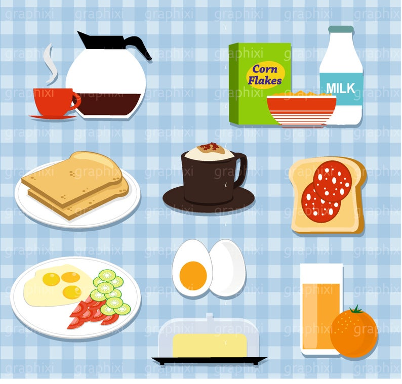 Breakfast Clipart, Vector Breakfast, Meal, Clipart sandwich, Commercial  Use, Breakfast Digital Image, Illustration, DIGITAL CLIPART.