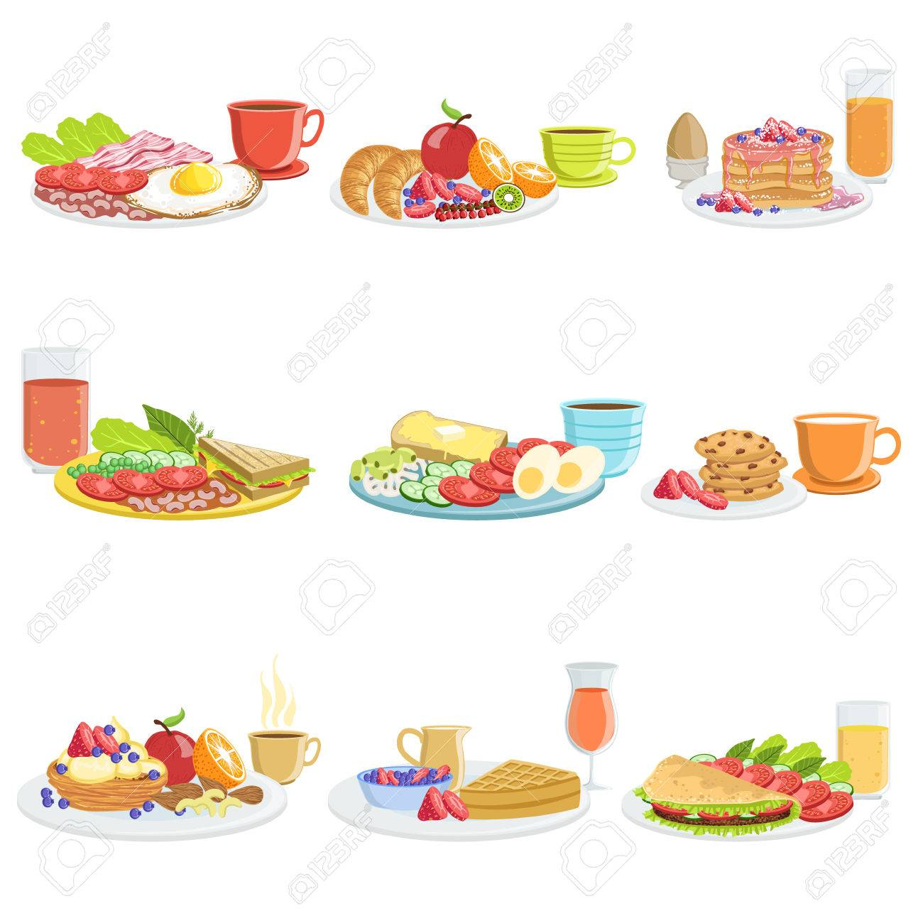 Breakfast Meal Different Sets. Collection Of Morning Menu Plates...