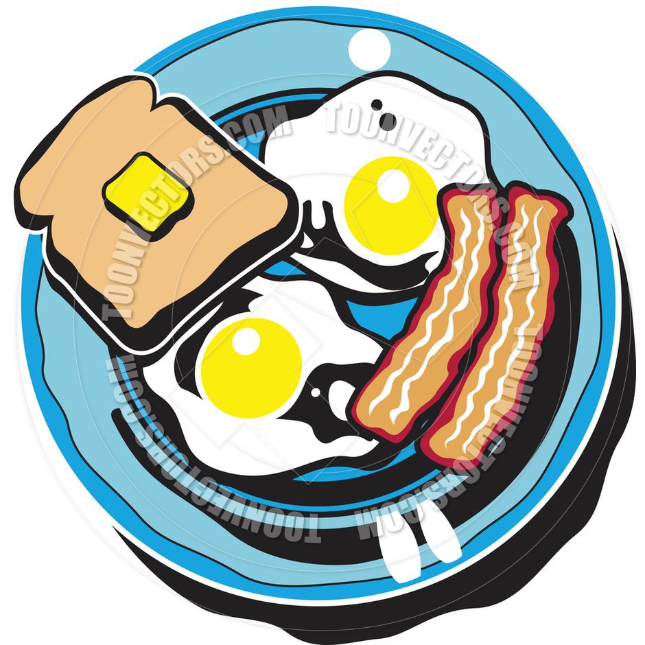 Cartoon Breakfast Plate Vector.
