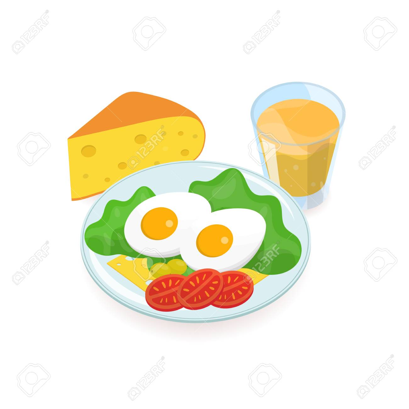 Delicious healthy breakfast consisted of boiled eggs, salad,...