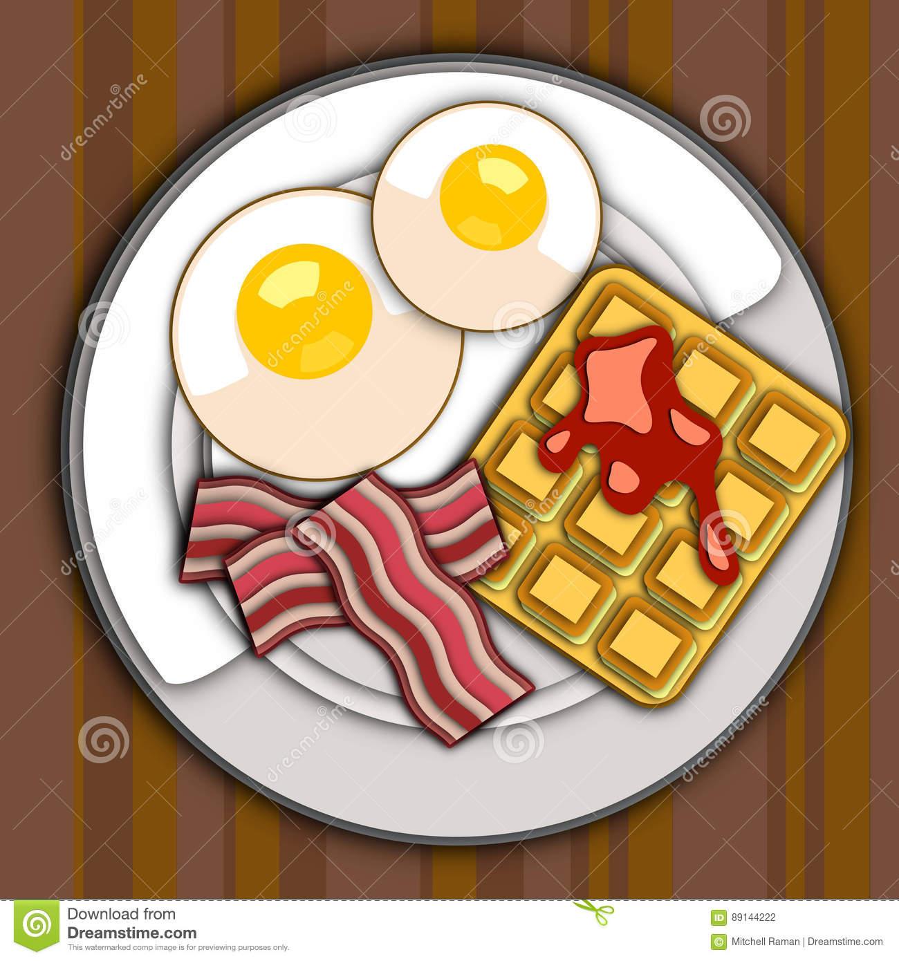 Breakfast Plate Vector Image Stock Vector.