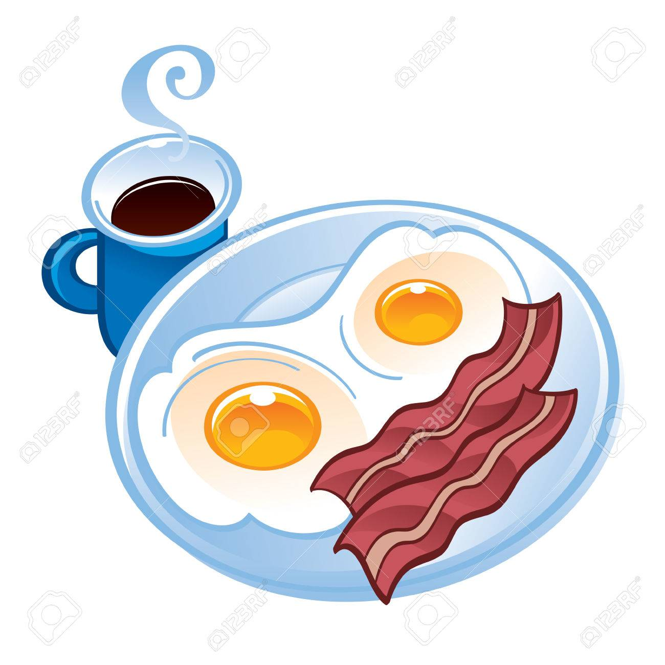 Bacon tea and fried eggs on the plate.