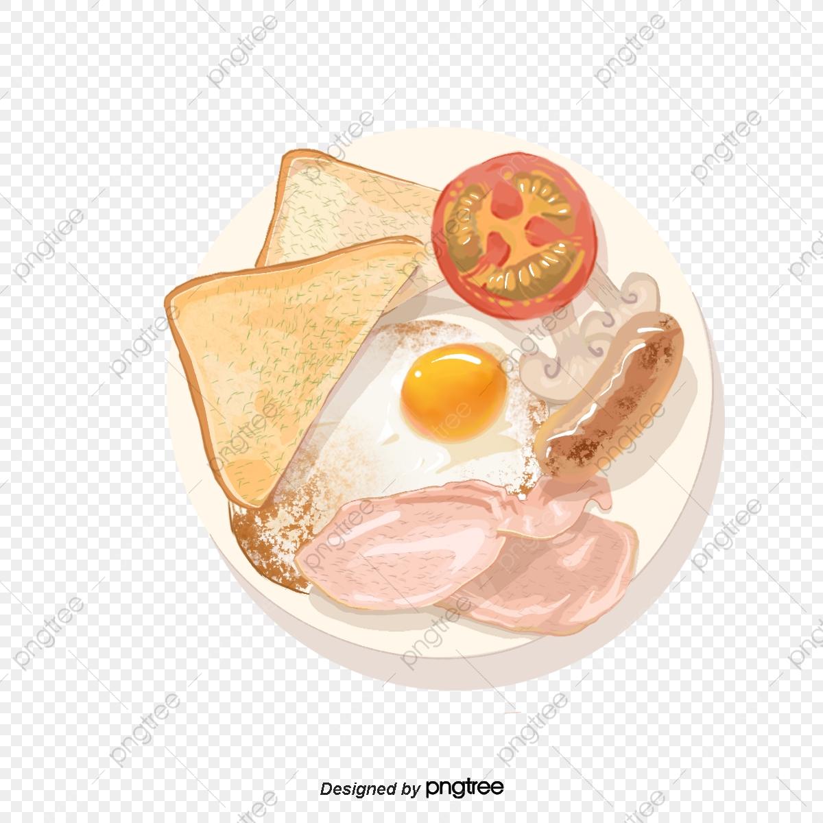 Breakfast, Omelette, Sausage, Lettuce PNG Transparent Clipart Image.