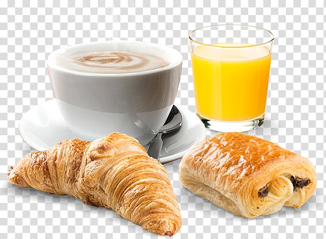 Bread pastries with coffee and juice, Danish pastry Croissant.