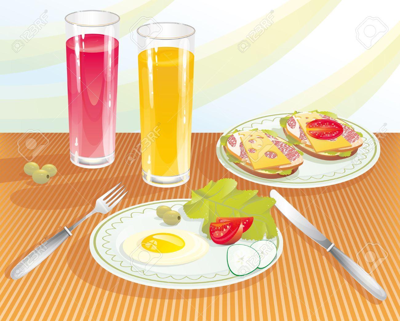 Breakfast table clipart.