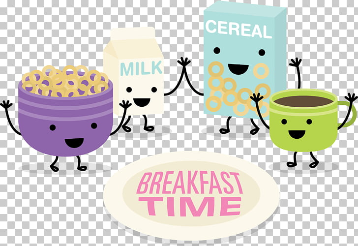 Breakfast Brunch Milk Corn flakes, breakfast time PNG.