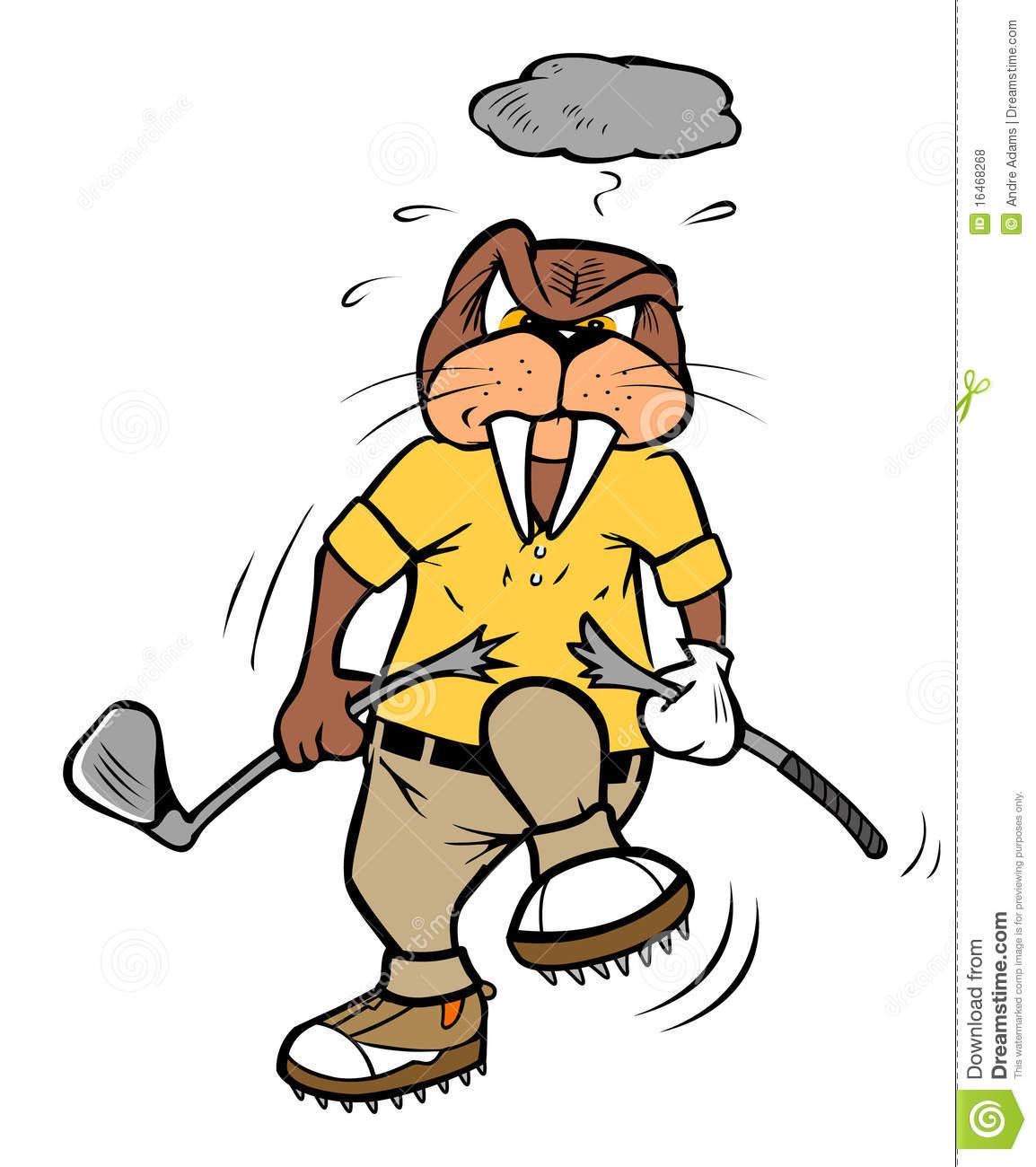 Golfer Breaking Club Clipart.