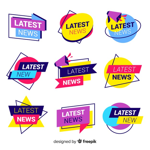 Latest news banner collection Free Vector.