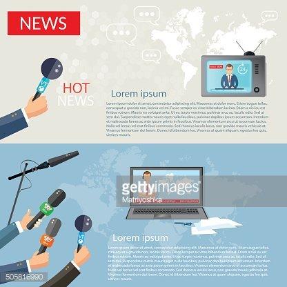 Breaking News Banner Hands of Journalists premium clipart.
