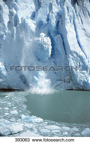 Stock Photo of Ice breaking off a glacier 393063.