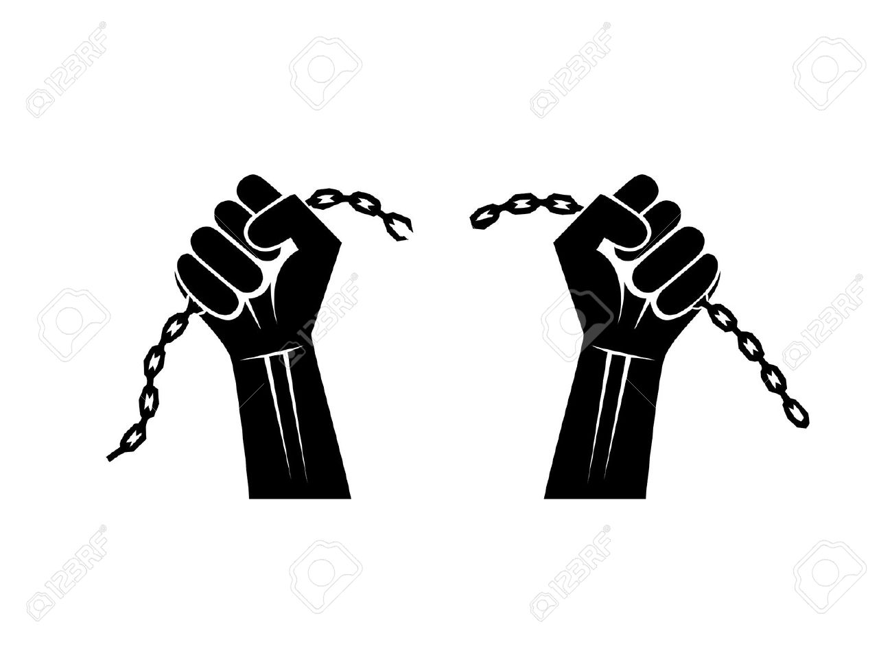 Hands breaking chains clipart.