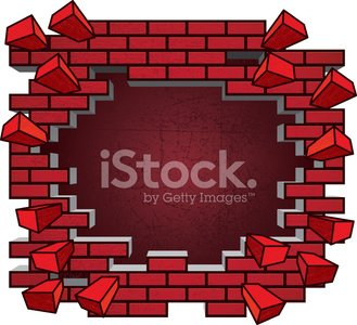 Brick Wall Breaking Clipart Image.