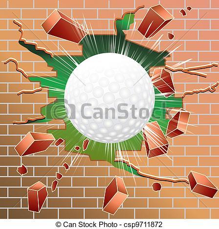 Breaking through brick wall clipart.
