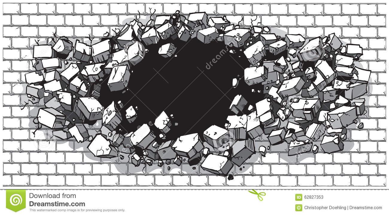 Breaking through Wall Clip Art.
